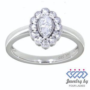 Solid Marquise Diamond Halo Fancy Ring White Gold